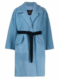 Blancha belted shearling coat - Blue