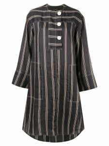 Lee Mathews Granada striped shirt dress - Black