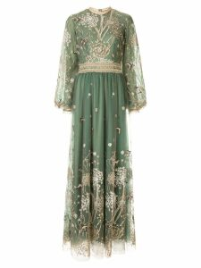 Costarellos Story-Telling embroidered tulle gown - Green