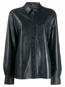 Karl Lagerfeld button-up leather shirt - Blue