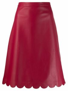 Red Valentino scalloped edge leather skirt