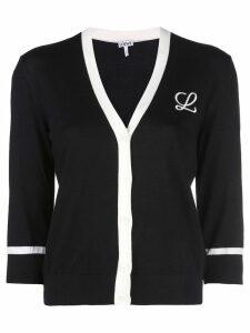 Loewe knitted monogram cardigan - Black
