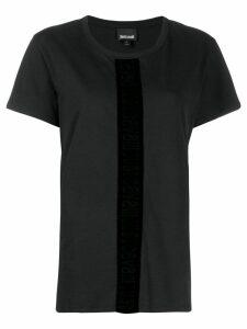 Just Cavalli velvet trim T-shirt - Black