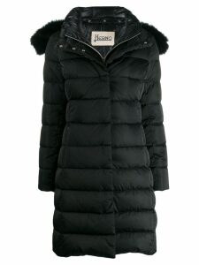 Herno detacahable fox fur hooded padded coat - Black