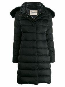Herno detacahable fox fur hooded padded coat - Black