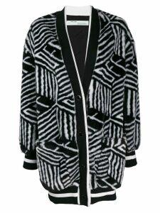 Off-White geometric faux fur cardigan - Black