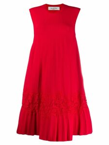 Valentino lace panel pleated dress - Red