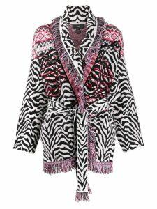 Alanui zebra pattern cardi-coat - White