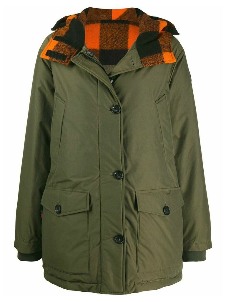 Woolrich check hooded short parka - Green