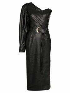Anouki one-shoulder faux leather midi dress - Black