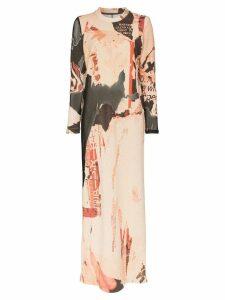 Marques'Almeida collage print maxi dress - Brown