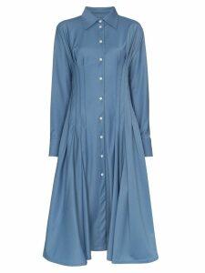Anouki gathered-waist shirt-dress - Blue