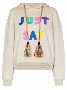 Mira Mikati slogan embroidered hoodie - Neutrals