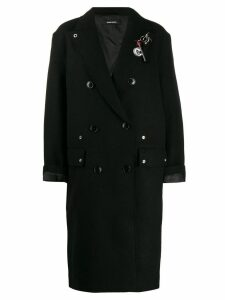 Diesel embellished double-breasted coat - Black