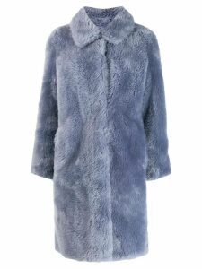 Yves Salomon Meteo fur-trimmed wool coat - Blue