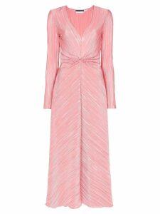 Rotate plissé midi dress - Pink