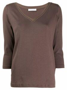 Fabiana Filippi embellished v-neck T-shirt - Brown