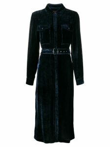 Sies Marjan belted velvety shirt dress - Blue