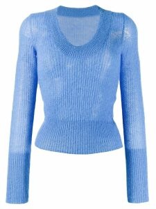 Jacquemus ribbed round neck sweater - Blue