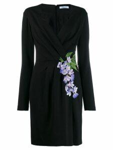 Blumarine floral-embroidered wrap dress - Black
