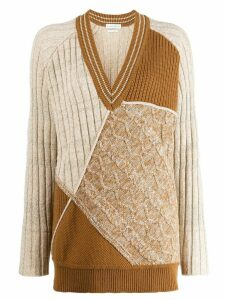 Ballantyne colour blocked knitted jumper - Brown