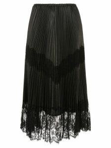 Valentino pleated lace trim midi skirt - Black