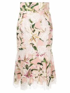 Dolce & Gabbana Lily print lace detailed skirt - Pink