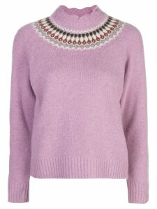 Sea fair isle knitted jumper - Purple