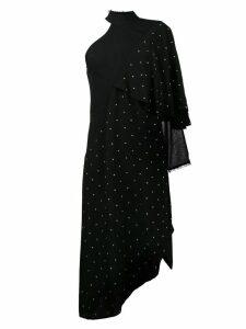 Kitx one-sleeve asymmetric studded dress - Black