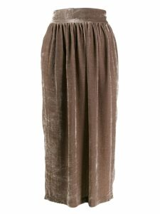 Fabiana Filippi velvet pleated skirt - Brown