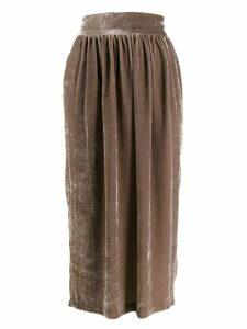 Fabiana Filippi velvet pleated skirt - Brown