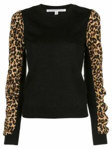 Veronica Beard leopard print knitted jumper - Black