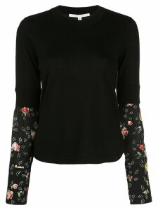 Veronica Beard knitted jumper with silk sleeves - Black
