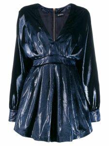 Balmain V-neck velvet mini dress - Blue