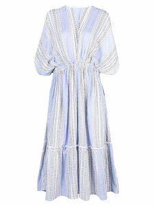 Lemlem Amira plunge neck dress - Blue