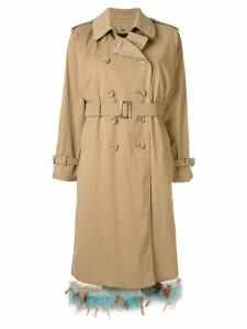 Tu es mon TRÉSOR feather hem trench coat - Brown