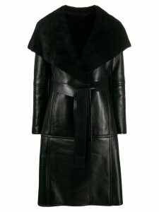Balenciaga belted leather coat - Black