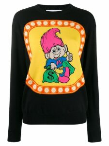 Moschino graphic print crew neck knitted jumper - Black