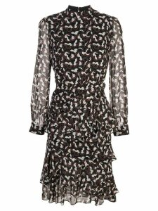 Saloni ruched printed dress - Black