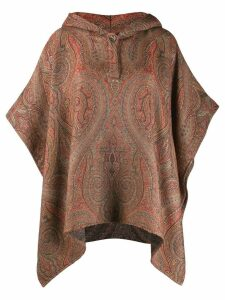 Etro paisley print poncho - Brown