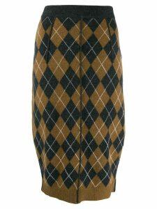 Pringle Of Scotland patchwork argyle pencil skirt - Grey