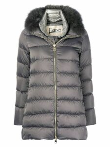 Herno fox fur-trimmed padded coat - Grey
