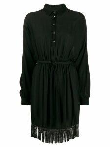Just Cavalli embellished fringe shirt dress - Black