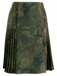 Ermanno Scervino pleated camouflage print skirt - Green