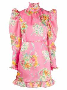 Alessandra Rich rose print mini dress - Pink