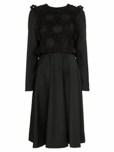 Paskal floral appliqué midi dress - Black