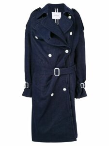 pushBUTTON denim double-breasted coat - Blue