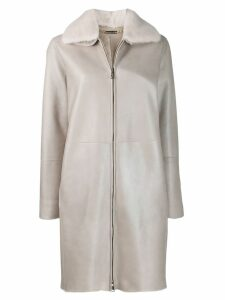 Manzoni 24 mink fur collar coat - Grey