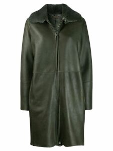 Manzoni 24 mink fur collar coat - Green