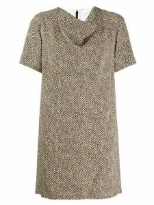 Chloé herringbone draped dress - Neutrals